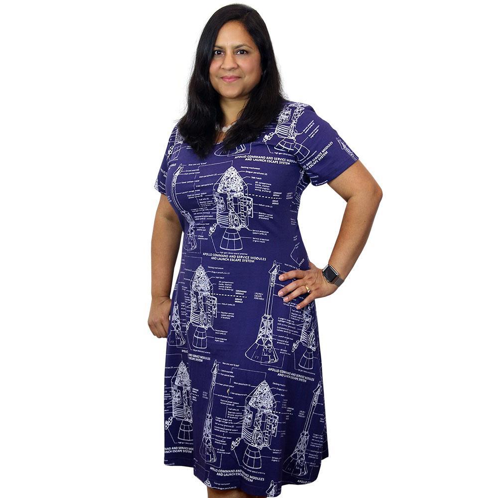 apollo-dress, blue with apollo blueprints in white