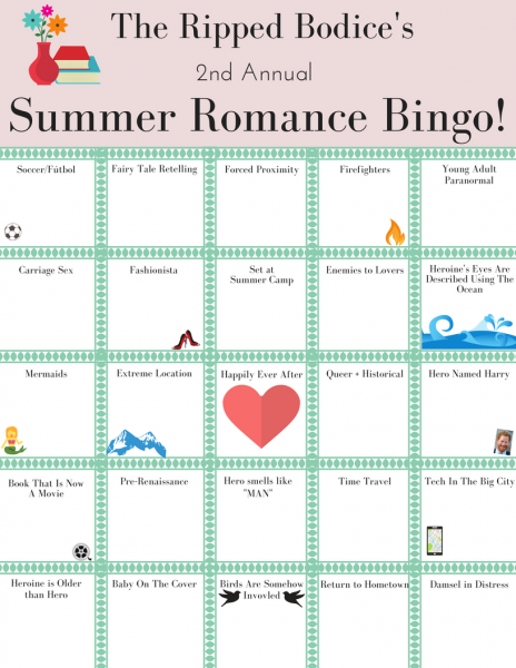 Ripped Bodice Summer Romance Bingo Card
